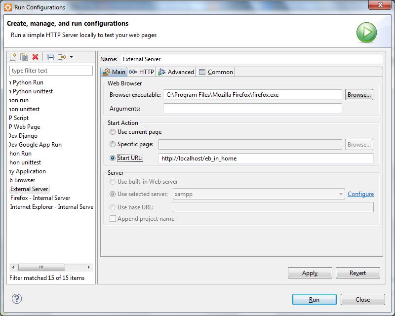 Using external XAMPP server in Aptana Studio 3   electroBucket